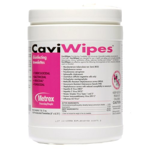 Image Of CaviWipes 13-1100 Surface Disinfectant Wipe Premoistened 160 Count Canister