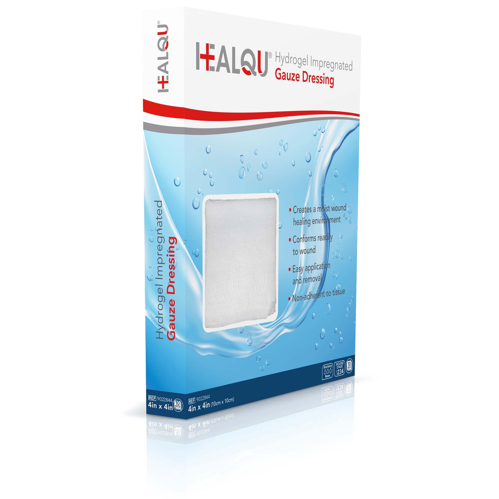 Image Of Healqu Hydrogel Impregnated Gauze Dressing 4in x 4in (10 x 10cm)