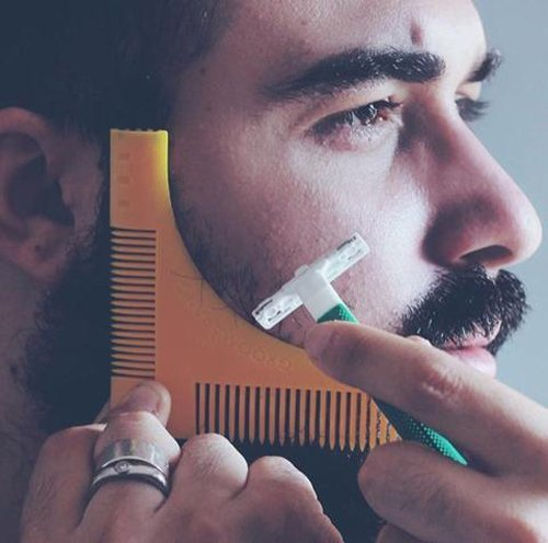 Image Of New Groomarang Beard Styling and Shaping Template Comb Tool Perfect Lines & Symmetry Shape Face Neck Line Fast and Easily
