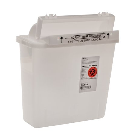 Image Of Sharps Container 1-Piece 12-1/2 H X 10-3/4 W X 5-1/2 D Inch 5 Quart Translucent Horizontal Entry Lid