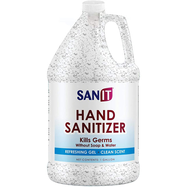 Image Of Sanit Moisturizing Hand Sanitizer Gel 70% Alcohol - Kills 99.99% Germs, Advanced Formula with Vitamin E and Aloe Vera - Soothing Gel, Fresh Scent, Made in USA 1Gal