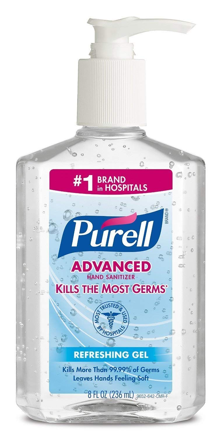 Image Of Hand Sanitizer Purell Advanced 8 oz Alcohol Ethyl Gel Pump Bottle