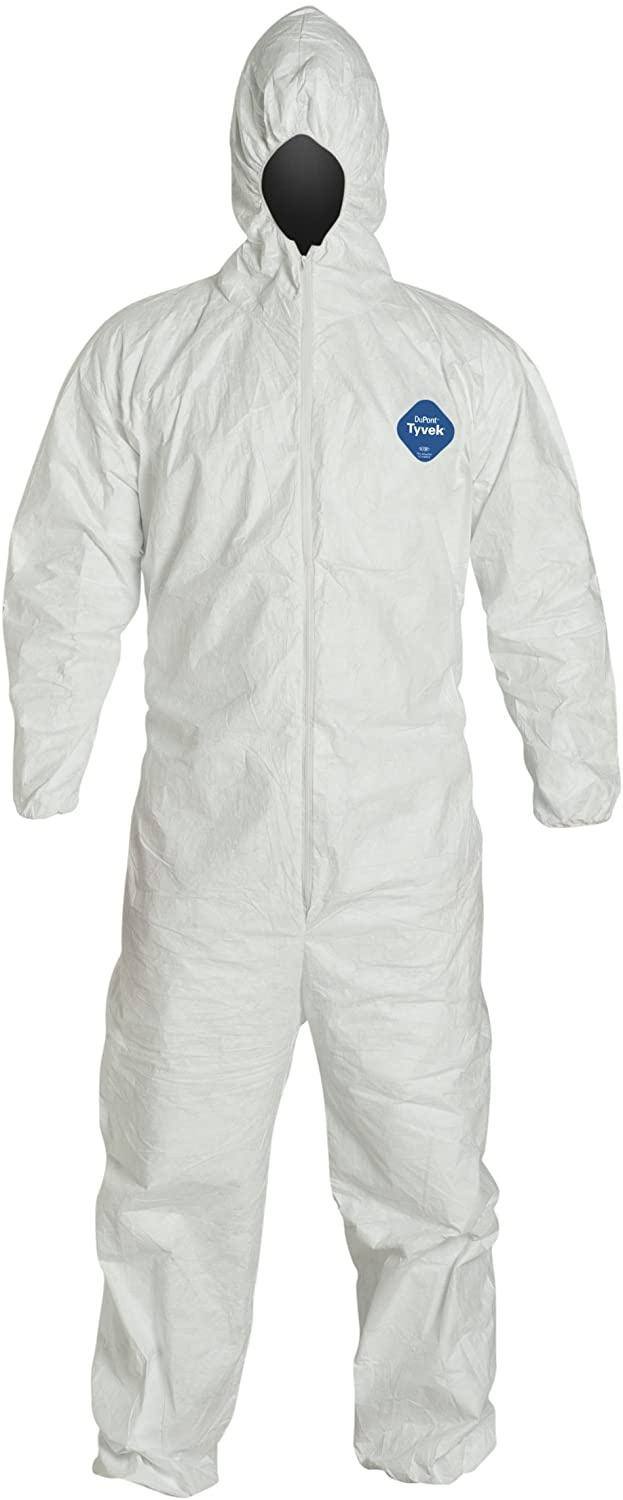 Image Of Protective Coverall Suit zipper front, hood, elastic wrist and ankle, stormflap Dupont400 Tyvek 127 Size 2XL