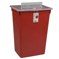 Image Of Sharps-a-Gator Safety In Room Sharps Container, Red, 3 Gallon, Transparent Counterbalance Lid