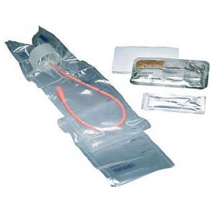Image Of TOUCHLESS Male Red Rubber Intermittent Catheter Kit 14 Fr 1100 mL