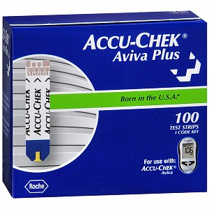 Image Of ACCU-CHEK Aviva Plus Blood Glucose Test Strips (100 count)