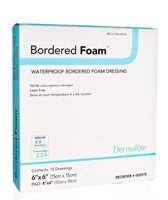 "Image Of Bordered Foam Waterproof Wound Dressing, 4"" x 4"""