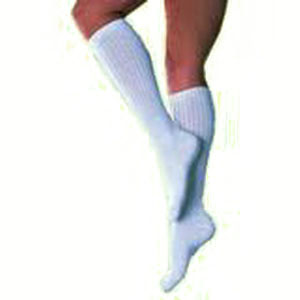 Image Of SensiFoot Crew Length Mild Compression Diabetic Sock Small, White