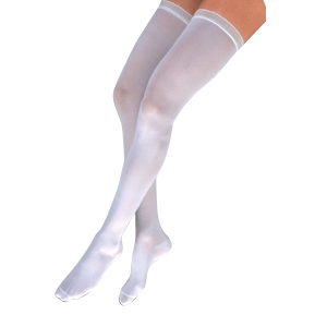 Image Of Anti-EM/GP Knee-High Seamless Anti-Embolism Elastic Stockings Small, White