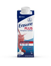Image Of Oral Supplement Ensure Plus Strawberry Flavor 8 oz Carton Ready to Use
