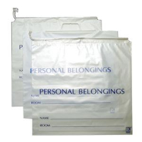"""Image Of White Opaque Personal Belongings Bag With Cordstring Closure, 18"""" x 18-1/2"""""""