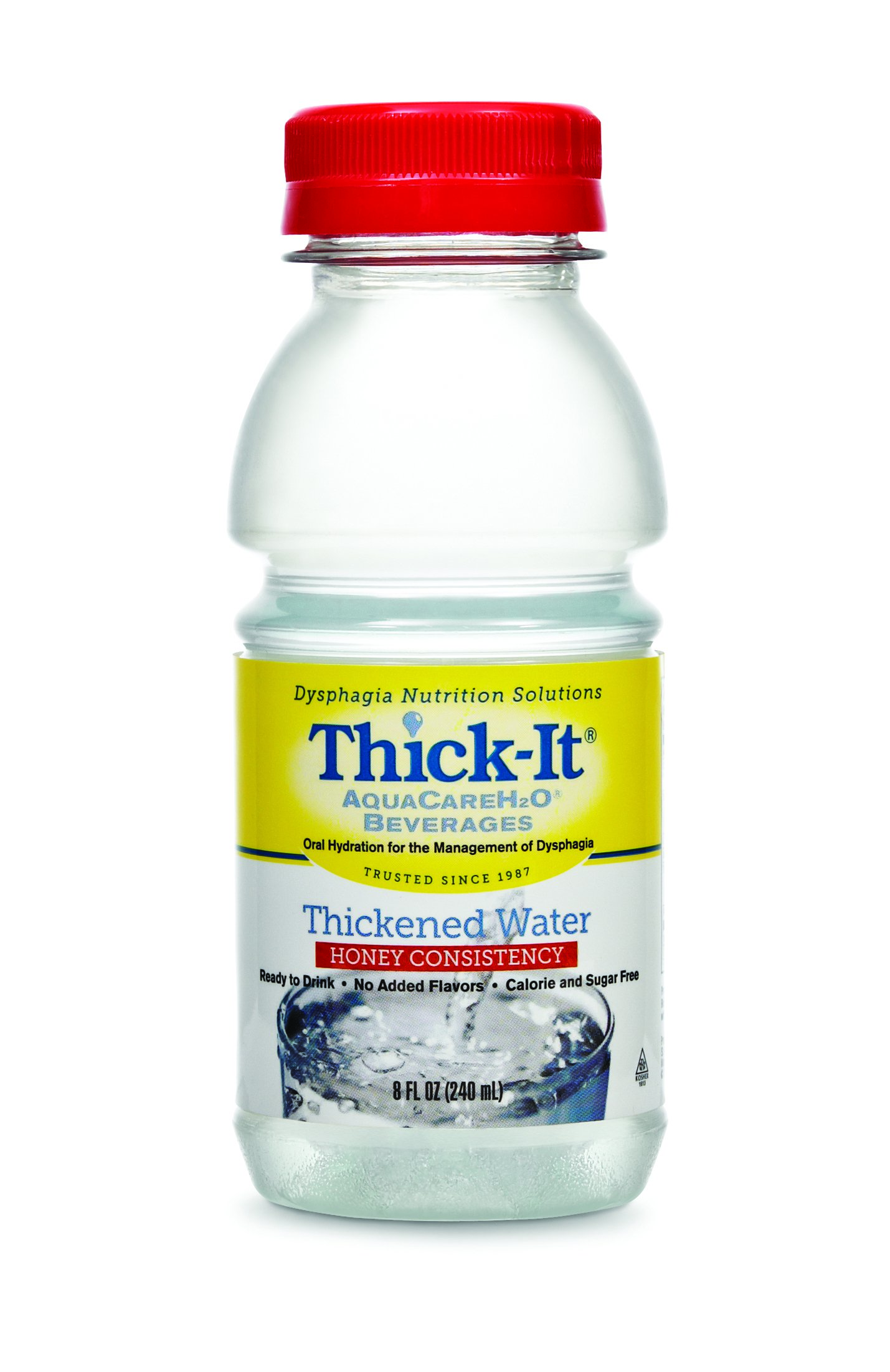 Image Of Thickened Water Thick-It AquaCareH2O 8 oz Bottle Unflavored Ready to Use Honey Consistency