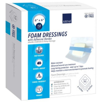 """Image Of Foam Dressing with Film Backing and Adhesive Border, 4"""" x 4"""""""