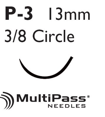 Image Of suture with needle Ethilon Nonabsorbable Black Monofilament Nylon uncoated Size 5 - 0 18 Inch Suture 1-Needle 13 mm 3/8 Circle Precision Point - Reverse Cutting Needle