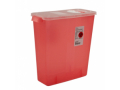 Image Of Sharps Container 1-Piece 13-3/4 X 13-3/4 X 6 Inch 3 Gal Translucent Hinged, Rotor Lid