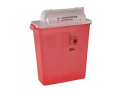 Image Of SharpSafety In Room Sharps Container with Open Lid, 5 Quart Capacity, Transparent Red
