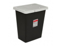 Image Of SharpSafety RCRA Hazardous Waste Container Hinged Lid, Black, 18 Gallon