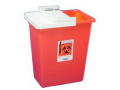 Image Of SharpSafety Sharps Container with Hinged Lid, Red 18 Gallon