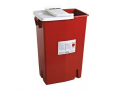 Image Of Multi-purpose Sharps Container SharpSafety, 1-Piece, 18 Gallon, Red Base with Hinged Lid