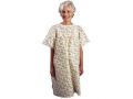 Image Of LadyLace Patient Gown with Short Sleeves, One Size, Pink Rosebud