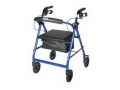Image Of Aluminum Rollator with Fold Up and Removable Back Support and Padded Seat, Blue