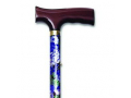 "Image Of Folding Travel Cane with Fritz Handle, Mauve Floral, 33"" - 37"""