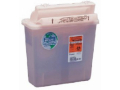 Image Of Multi-purpose Sharps Container Renewables In-Room 5 Quart Red Base Clear Lid Counter Balanced Lid