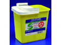 Image Of Chemotherapy Waste Container SharpSafety 1-Piece 1875 H X 1275 D X 1825 W Inch 12 Gallon Yellow Base / White Lid Vertical Entry Hinged Lid