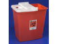 Image Of Multi-purpose Sharps Container SharpSafety 1-Piece 1875H X 1825W X 1275D Inch 12 Gallon Red Base Vertical Entry Hinged Lid