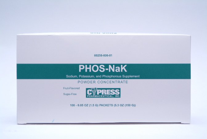 Image Of Dietary Supplement Phos-NaK 160 mg /280 mg / 250 mg Strength Oral Powder Concentrate 100 per Pack Fruit Flavor