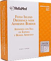 "Image Of Reliamed Foam Island Dressing with Adhesive Bordered, Sterile, Latex-Free, 5"" x 5"" with 3"" x 3"" Pad, 10/box"