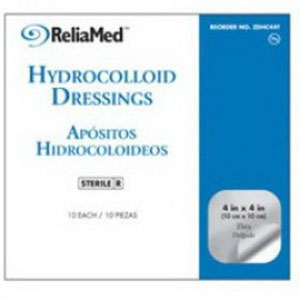"Image Of ReliaMed Sterile Latex-Free Hydrocolloid Dressing with Film Back and Beveled Edge 2"" x 2"""
