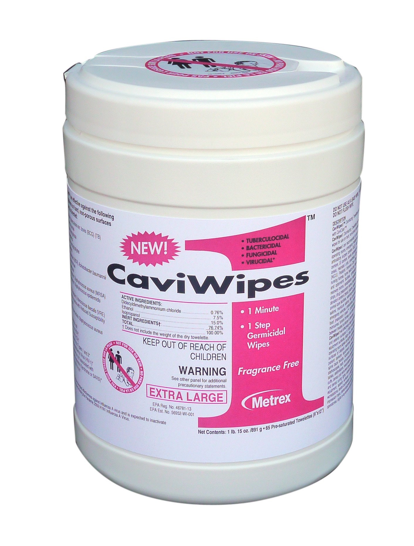 Image Of Surface Disinfectant CaviWipes1 Premoistened Wipe 65 Count Canister Disposable Alcohol Scent
