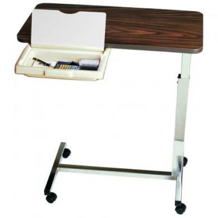 Image Of Overbed Table with Vanity Non-Tilt Automatic Spring Assisted Lift 28 to 45 Inch Height Adjustment